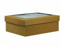 Boîte fond + couvercle cannelure apparente brun naturel avec fenêtre