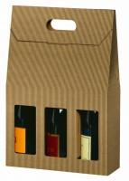 Panier 3 bouteilles cannelure apparente brun naturel