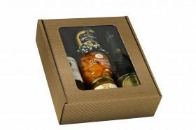Coffret 3 bouteilles cannelure apparente brun naturel avec fenêtre