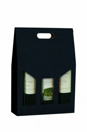 Panier 3 bouteilles gaufré noir