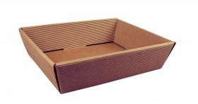 Corbeille carton cannelure apparente brun naturel